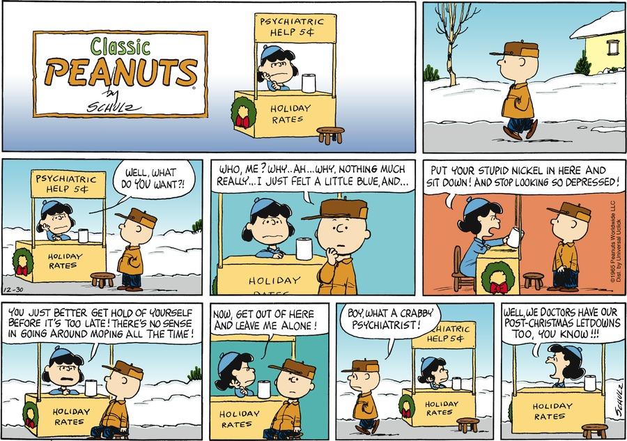 Peanuts Comic Strip for December 30, 2012