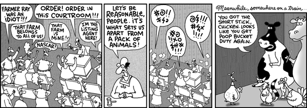2 Cows and a Chicken for Aug 25, 2008 Comic Strip