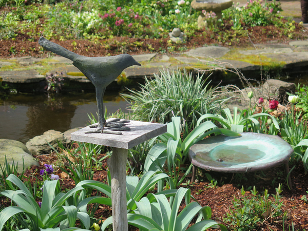 A good birdbath should be like a puddle, with gently sloping sides. A shallow dish that holds water is all you need. If your birdbath is a shallow dish like this, you'll want to fill it with fresh water every day. The birds will learn your routine and visit often.