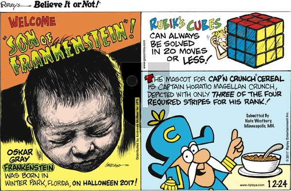 Ripley's Believe It or Not - Sunday December 24, 2017 Comic Strip