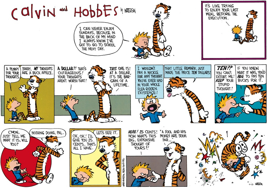Calvin and Hobbes for Apr 13, 2014 Comic Strip