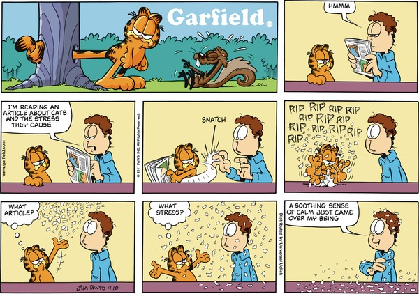 Jon:  Hmmm.  I'm reading an article about cats and the stress they cause.