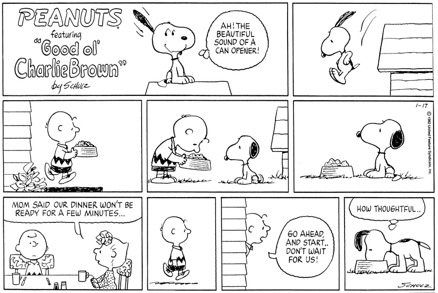 "Snoopy sits atop  his dog-house, smiles, and thinks,""Ah! The beautiful sound of a can opener!""  He jumps down from the dog-house.<BR><BR> Charlie Brown walks out of the house carrying a food-filled dog dish.<BR><BR> He bends to put the dish in front of a seated Snoopy.<BR><BR> Snoopy watches him walk off.<BR><BR> Charlie Brown and Sally are sitting at the table that is laid for dinner.  She says,""Mom said our dinner won't be ready for a few minutes...""<BR><BR> Charlie Brown walks off.  He stands in the open doorway and calls,""Go ahead, and start...don't wait for us!""<BR><BR> Snoopy starts eating and thinks,""How thoughtful...""<BR><BR>"