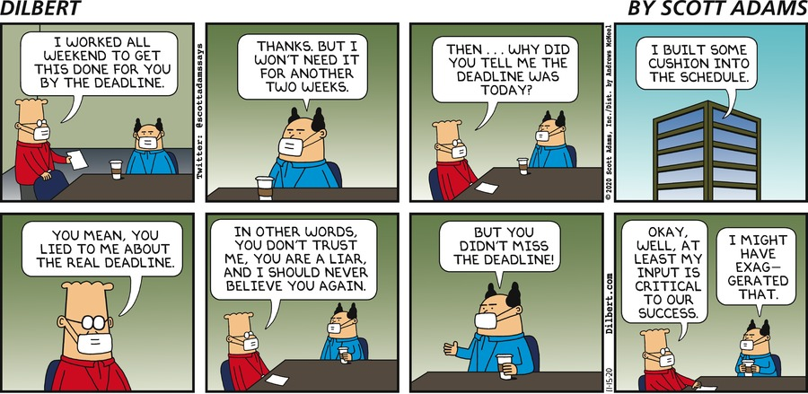 Cushion In Schedule - Dilbert by Scott Adams