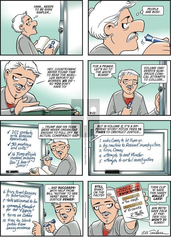 Doonesbury on Sunday August 25, 2019 Comic Strip