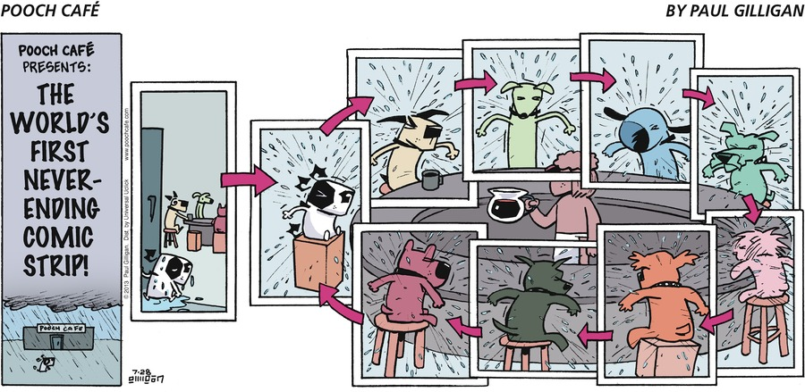 Pooch Café Presents:  The World's First Never-Ending Comic Strip.