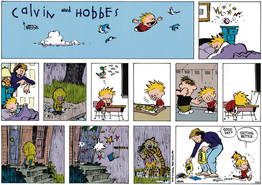 Calvin and Hobbes Comic Strip for May 13, 1990