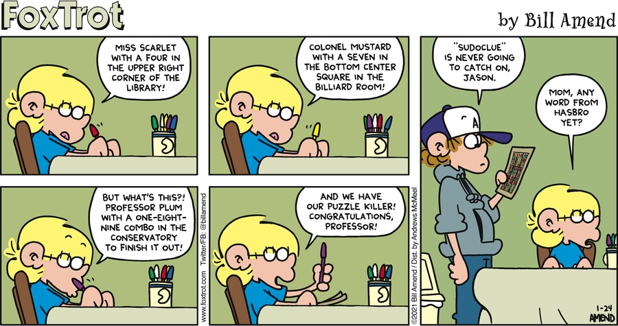 FoxTrot by Bill Amend on Sun, 24 Jan 2021