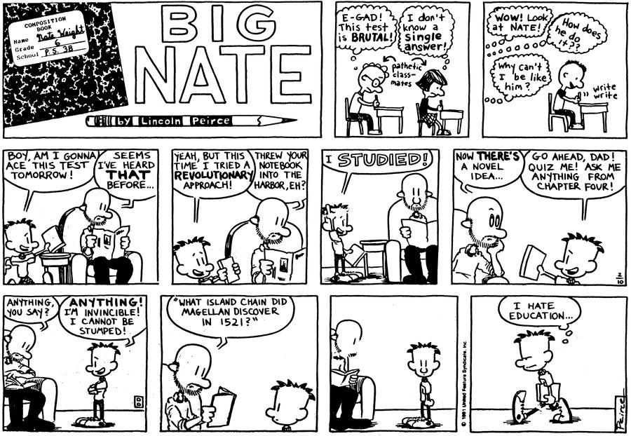 Big Nate Comic Strip for February 10, 1991