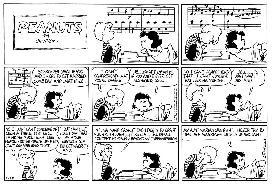 Peanuts Comic Strip for February 24, 1963