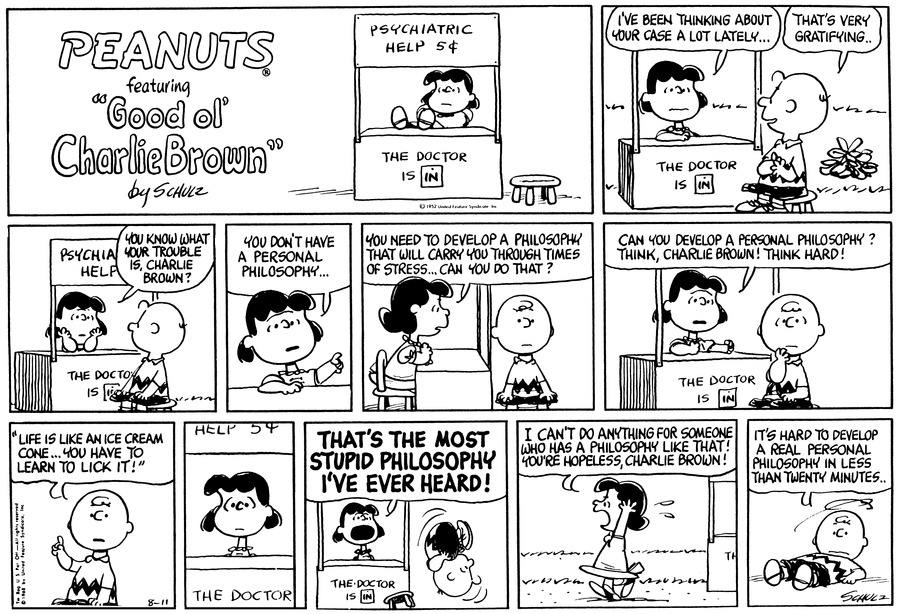 Peanuts Comic Strip for August 11, 1968