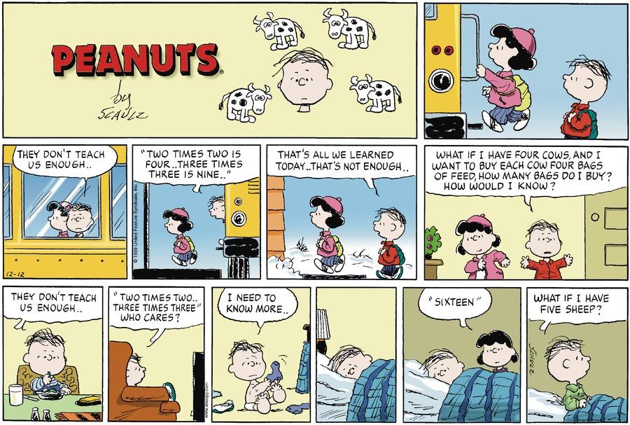 Peanuts Comic Strip for December 12, 1999