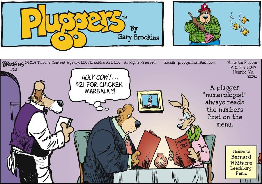 Pluggers for Jan 26, 2014 Comic Strip
