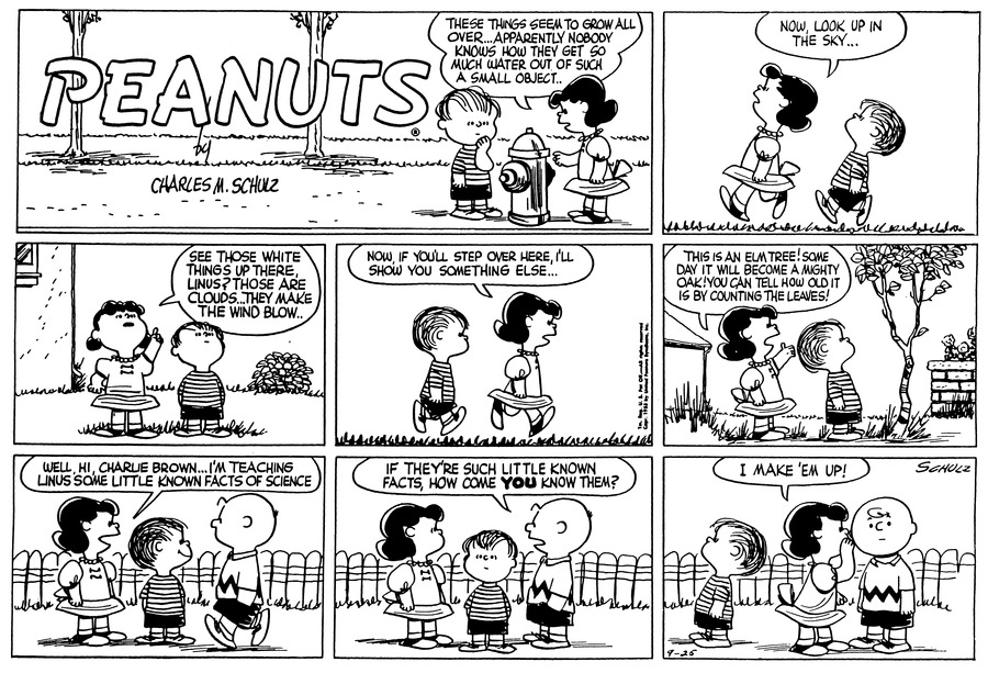 Peanuts Comic Strip for September 25, 1955