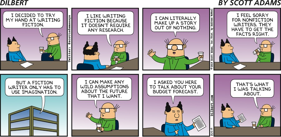 Wally Writes Fiction - Dilbert by Scott Adams