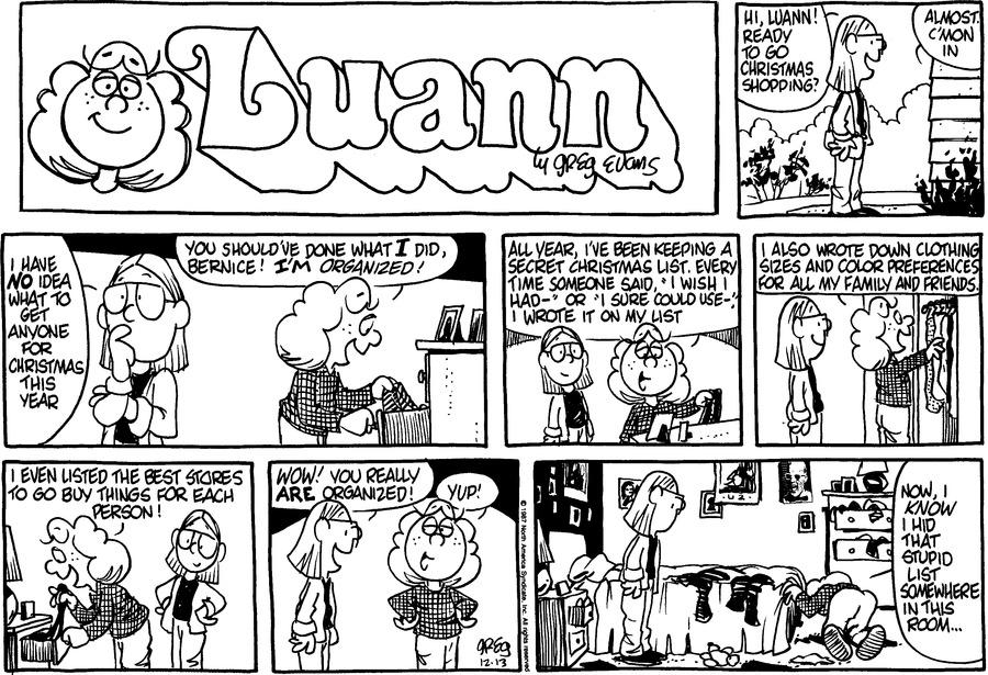 Luann Againn Comic Strip for December 13, 2015