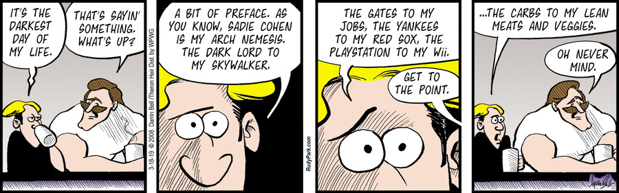 Rudy Park by Darrin Bell and Theron Heir for March 18, 2019