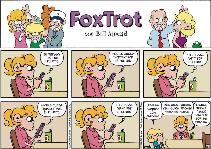 FoxTrot en Español by Bill Amend for December 02, 2018