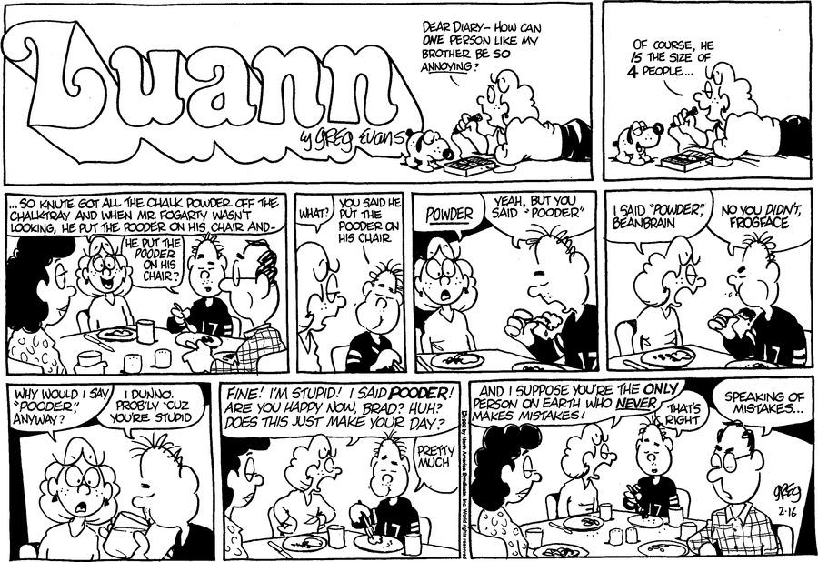 Luann Againn Comic Strip for February 16, 2020