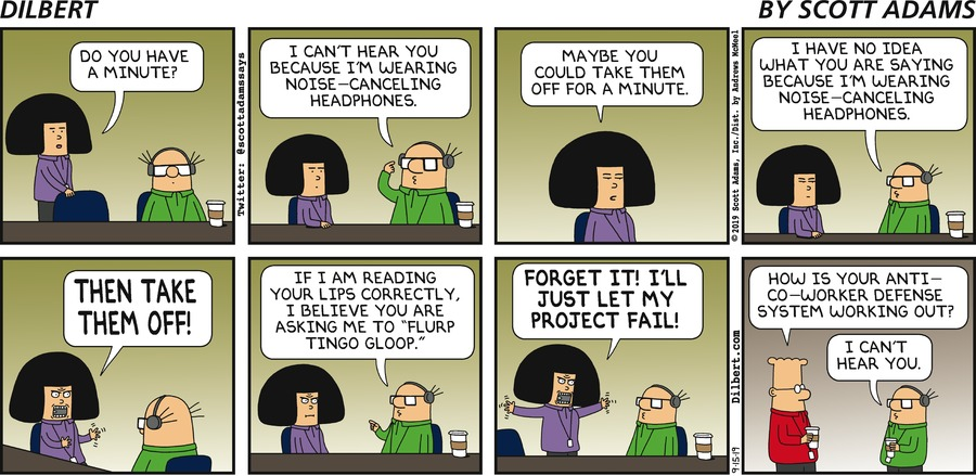 Wally Wears Headphones - Dilbert by Scott Adams