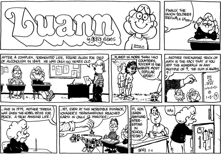 Luann Againn Comic Strip for February 11, 2018