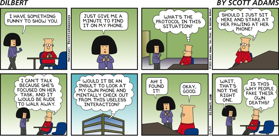 Searching On A Phone - Dilbert by Scott Adams