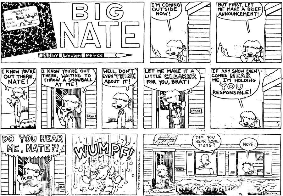 Big Nate Comic Strip for February 17, 1991