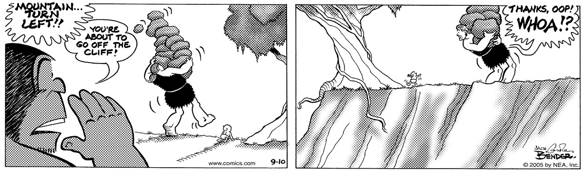 """""""MOUNTAIN...TURN LEFT!! YOU'RE ABOUT TO GO OFF THE CLIFF!"""" """"THANKS, OOP! WHOA!?"""""""