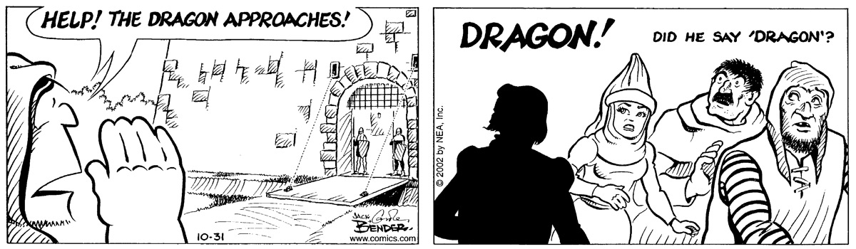 """Help! The dragon approaches!""