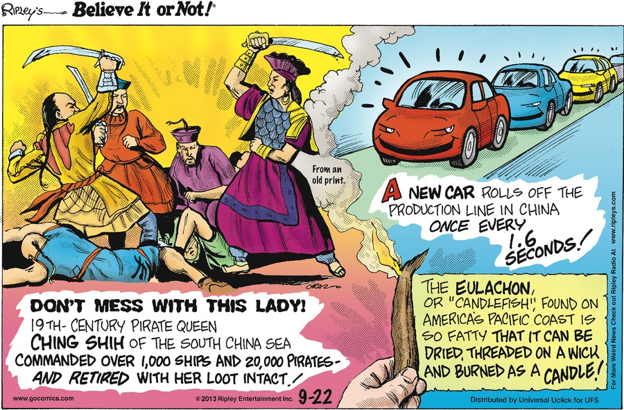 Ripley's Believe It or Not Comic Strip for September 22, 2013