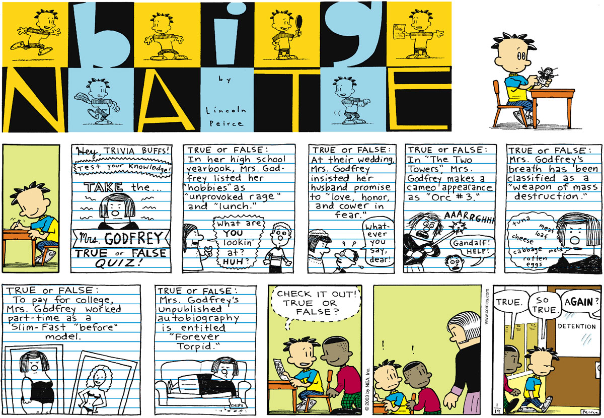 Big Nate Comic Strip for January 19, 2003