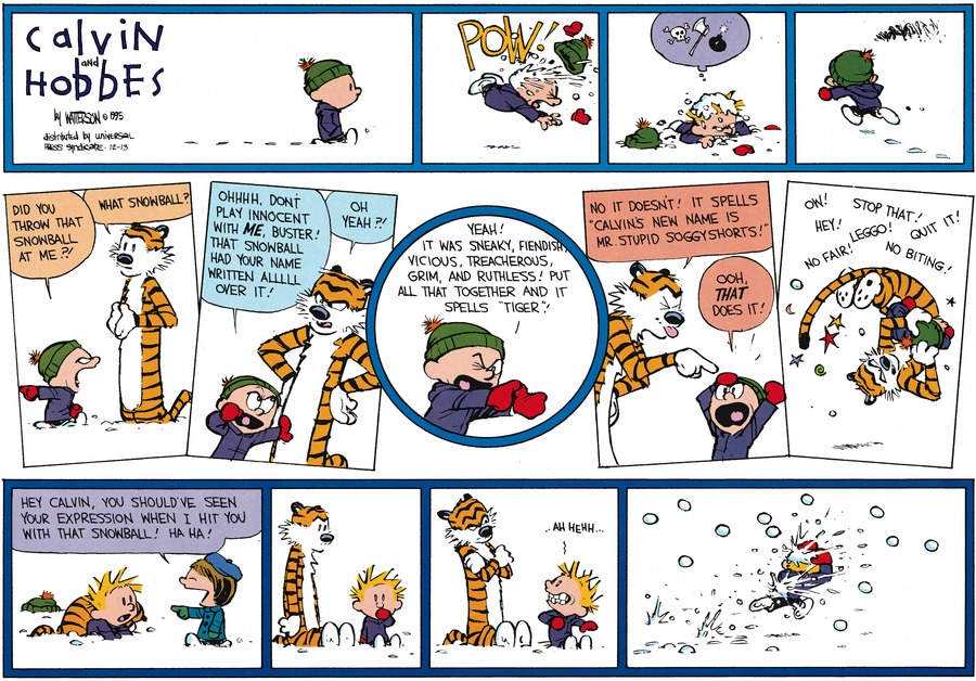 Calvin and Hobbes Comic Strip for December 13, 2015