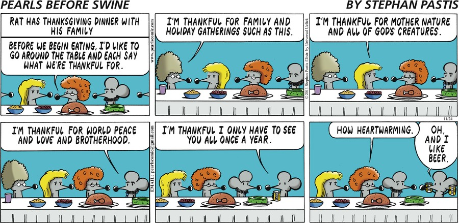 """Rat has Thanksgiving dinner with his family""