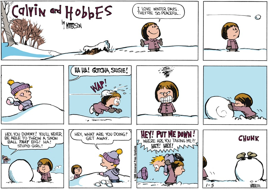 Calvin and Hobbes for Jan 5, 1986 Comic Strip