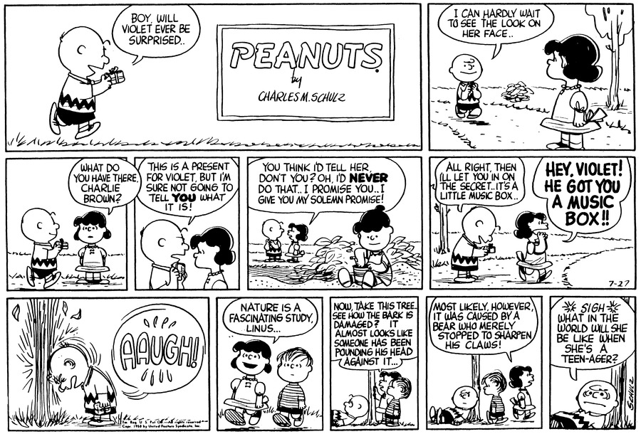 Peanuts Comic Strip for July 27, 1958