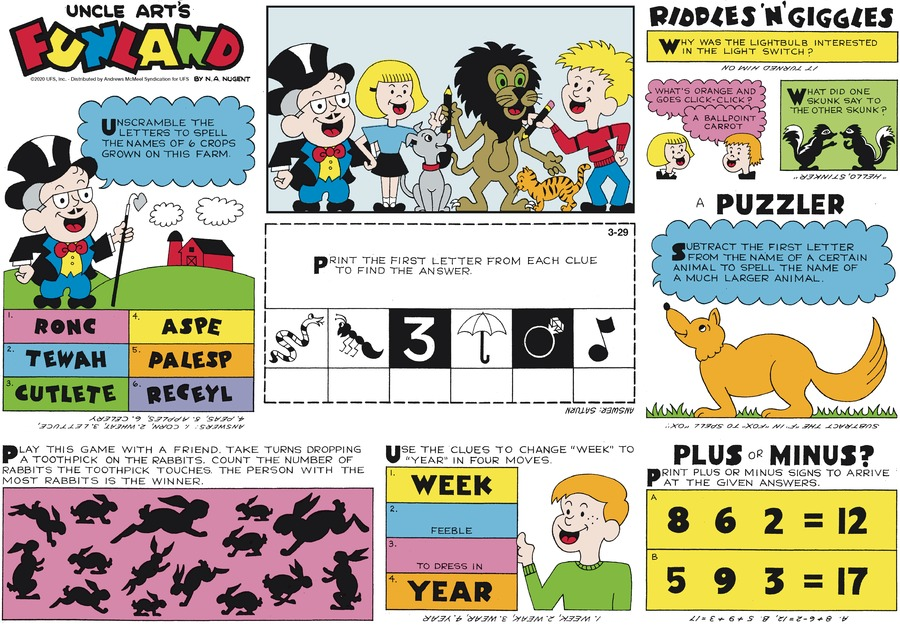 Uncle Art's Funland Comic Strip for March 29, 2020