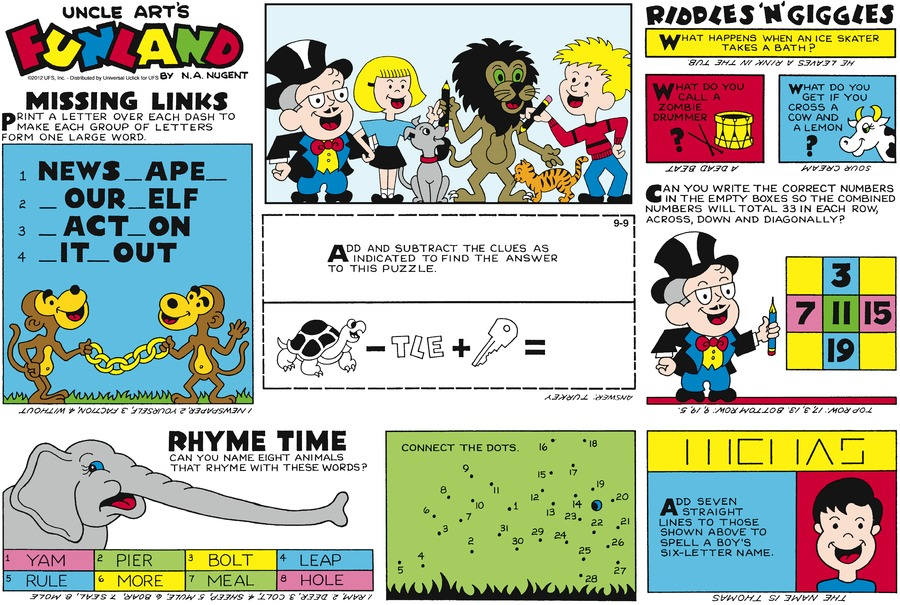 Uncle Art's Funland for Sep 9, 2012 Comic Strip