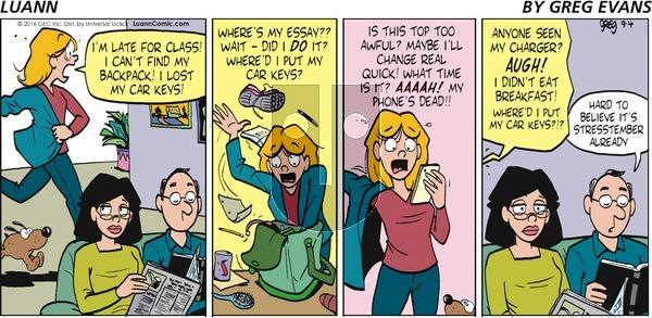 Luann on Sunday September 4, 2016 Comic Strip