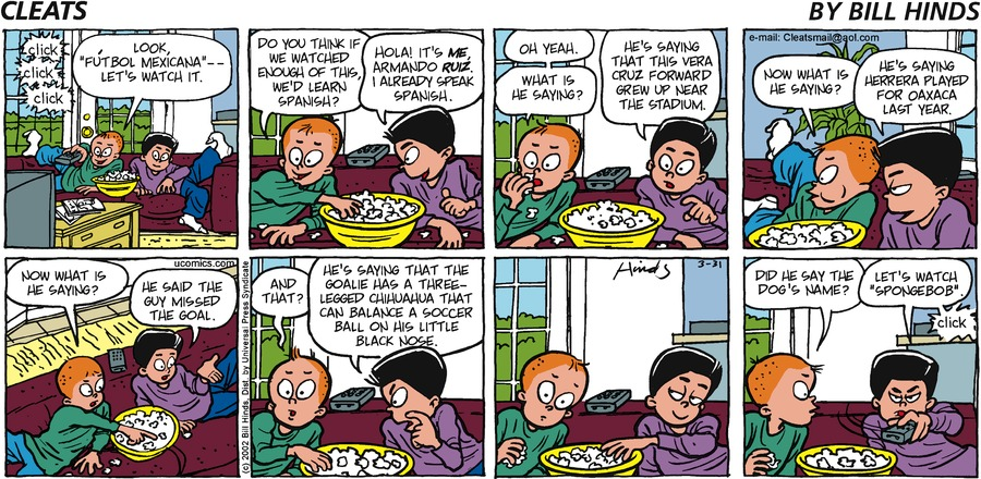 Cleats Comic Strip for March 31, 2002