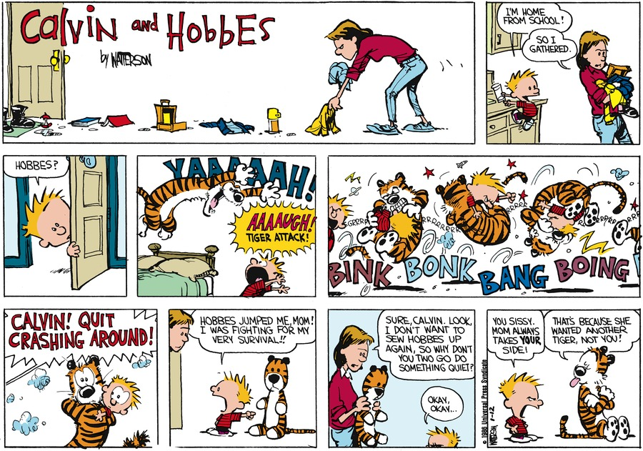 Calvin and Hobbes Comic Strip for January 12, 1986