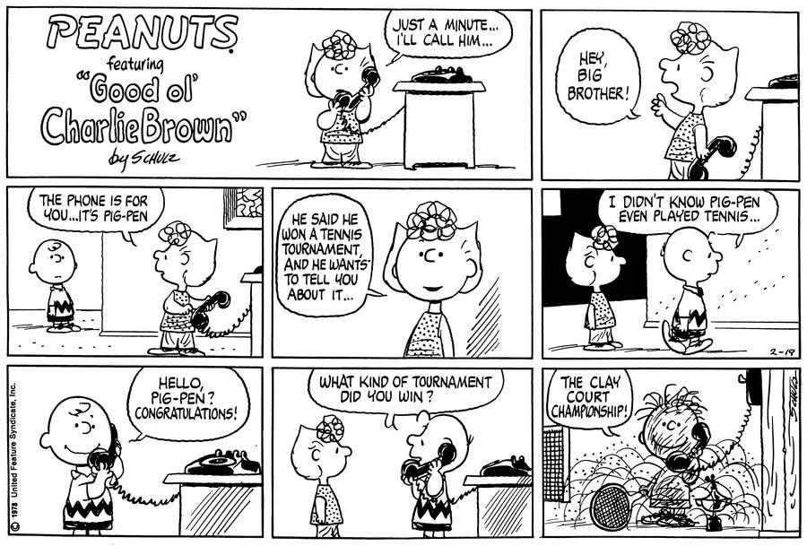 Peanuts for Feb 19, 1978 Comic Strip
