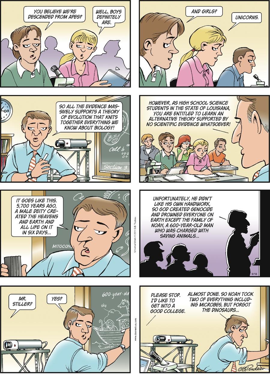 Doonesbury Comic Strip for September 16, 2012