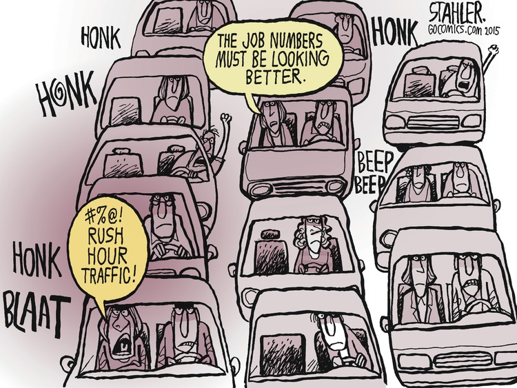 A group of people sit in rush hour traffic. Person: The job numbers must be looking better.