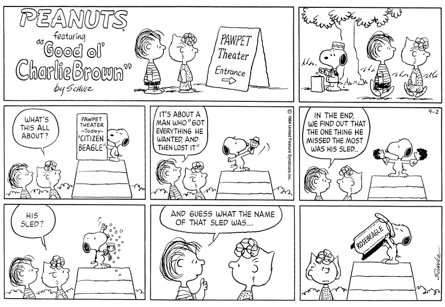 Peanuts Comic Strip for September 02, 1984