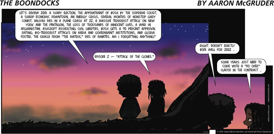 The Boondocks Comic Strip for November 11, 2001