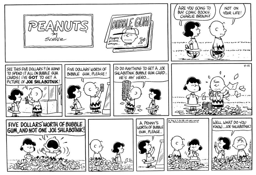 Peanuts Comic Strip for April 12, 1964