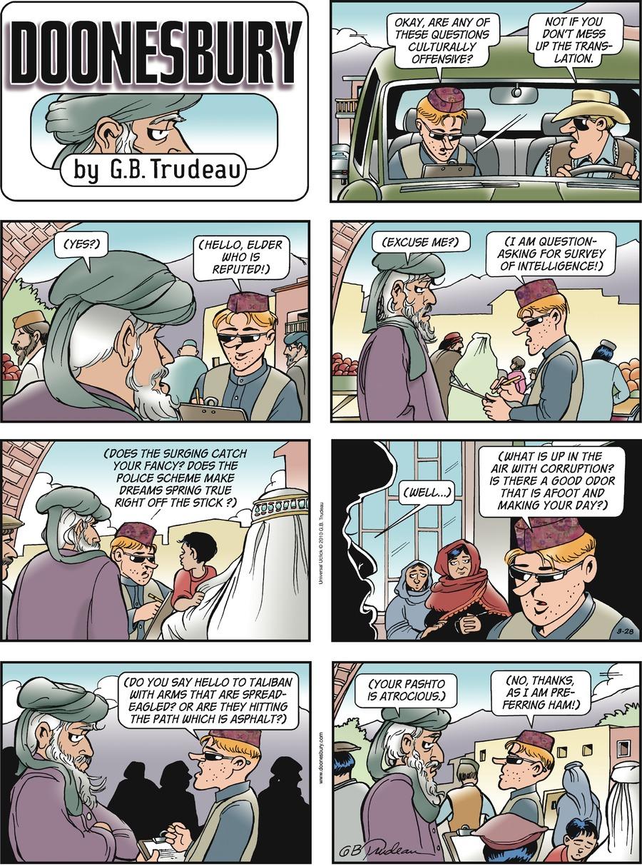 Doonesbury Comic Strip for March 28, 2010