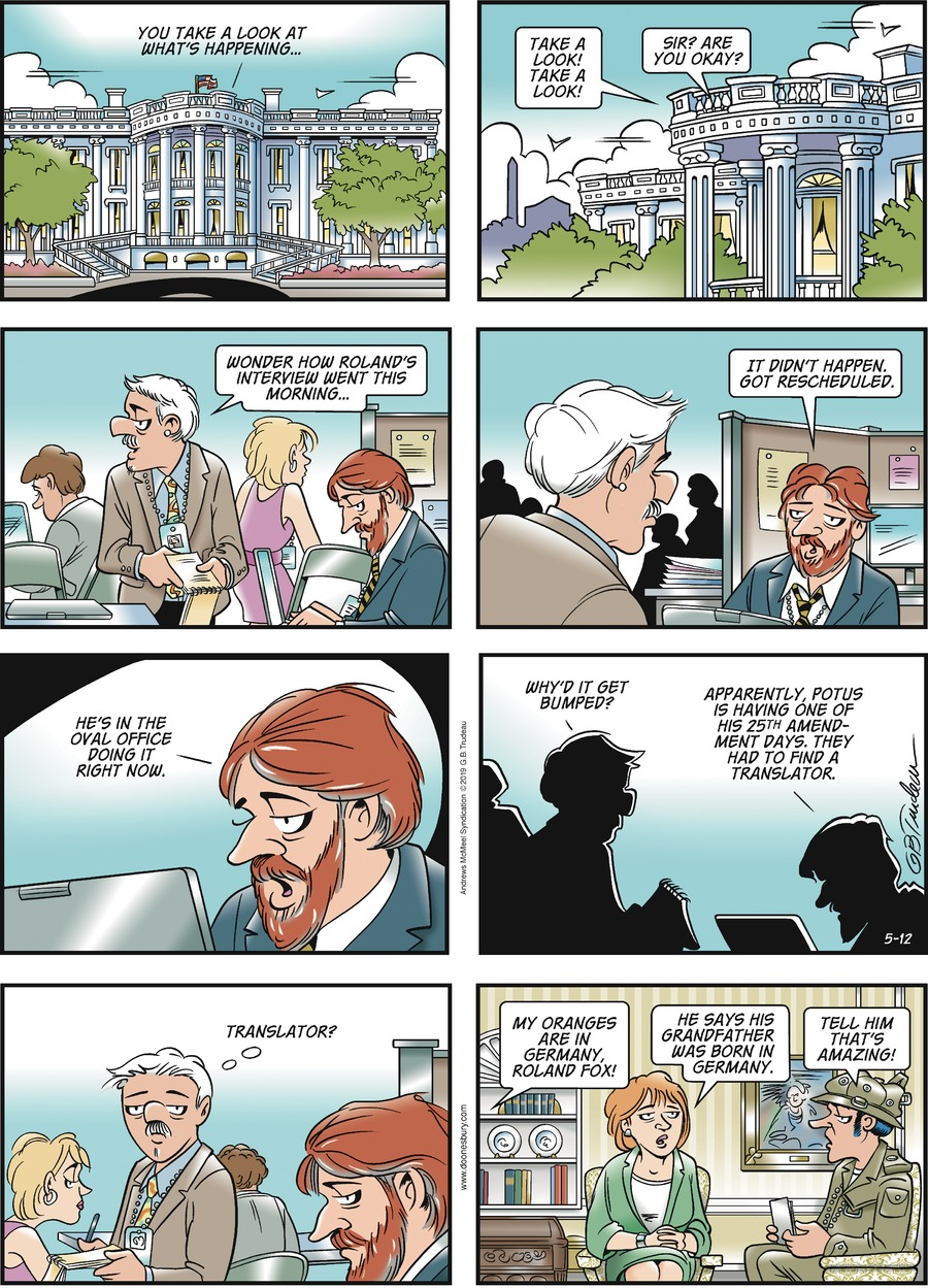Doonesbury by Garry Trudeau for May 12, 2019
