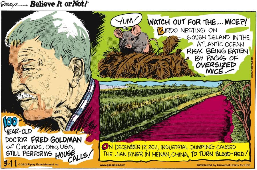 Ripley's Believe It or Not for Mar 11, 2012 Comic Strip