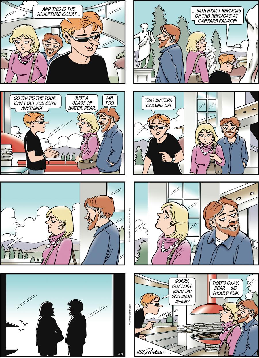 Doonesbury Comic Strip for April 08, 2012